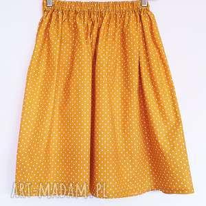 hand-made spódnice musztardowa spódniczka w kropeczki