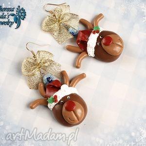 kolczyki świąteczne renifery rudolf czerwononosy, świąteczne