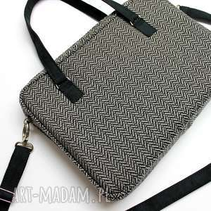 torba na laptop - tkanina w jodełkę grey - elegancka, nowoczesna, aktówka