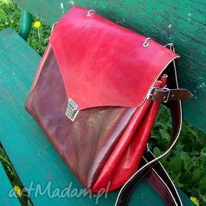 hand-made na ramię józefina czereśniowa torba a4