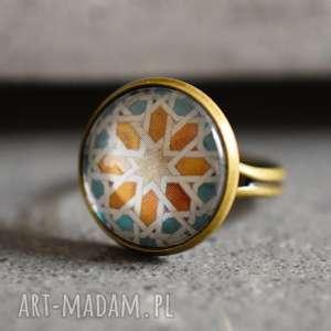 AZULEJOS III Brązowy pierścionek, płytki, wzór, kolaż, lekki, owalny, duży