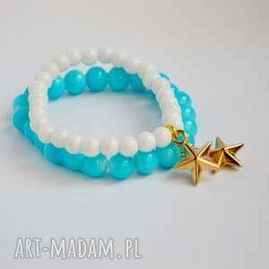 bracelet by sis złota gwiazdka w niebieskich koralach, gwiazdka, star, złoto, błekti