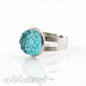 pierścionek morski ice, druzy, lodowy, turkusowy, regulowany, prezent, pierścionek