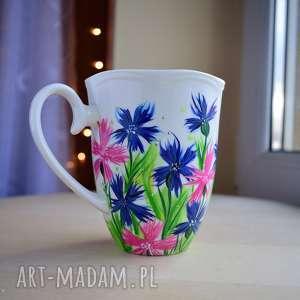 Prezent Kubek ręcznie malowany Chabry 350 ml, chabry, w-kwiaty, dla-mamy