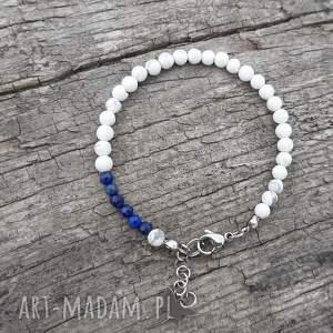 ręczne wykonanie bransoletka z howlitu o lapis lazuli
