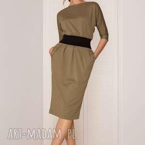 SUKIENKA MONO KHAKI, sukienka, khaki, dopasowana, uniwersalna, ołówkowa, dzianinowa