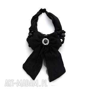 take a bow naszyjnik handmade - naszyjnik, kolia, czarny, kokarda