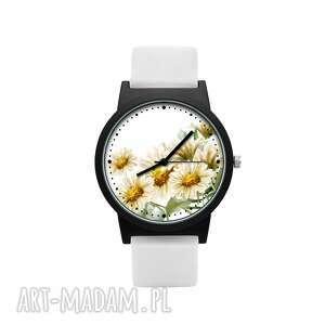 zegarek z silikonowym paskiem rumianki, kwiatowy, delikatny, prezent, upominek