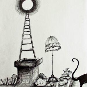 rysunek piórkiem koci świat artystki plastyka adriany laube, kot, lampa, abażur