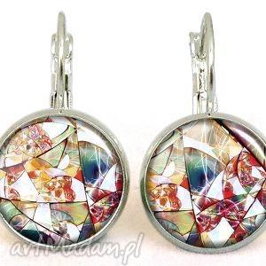 Witraż - małe kolczyki wiszące, witraż, artystyczne, szklane, kolczyki, kolorowe