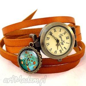 jesienne drzewo - zegarek bransoletka na skórzanym pasku - jesień
