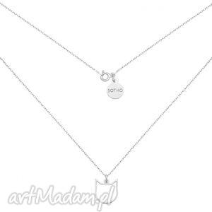 srebrny naszyjnik z kotem (kot kotek zawieszka, minimalistyczna srebro)