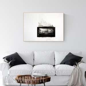 Grafika 70x50 cm wykonana ręcznie, abstrakcja, elegancki