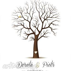 Drzewo wpisów w formacie 50x70 cm 6 poduszeczek z tuszem, ślub, wesele, drzewo