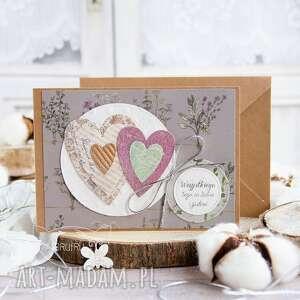 patchworkowe serca kartka ślubna, miłosna, na wesele