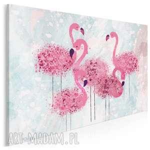 obraz na płótnie - flamingi różowy ptaki 120x80 cm 80001, flamingi