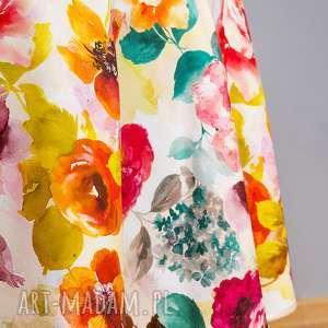 obrus okrągły elena, kwiaty, obrus, serweta, dekoracje stału, naturalny, bawełna