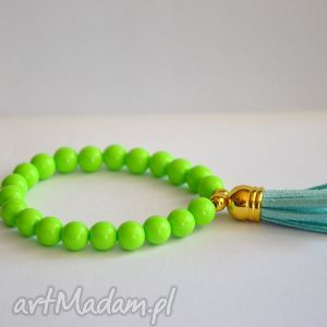 bracelet by sis pastelowa zieleń z błękitnym chwostem, chwost, pastele, korale