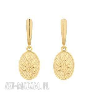 złote kolczyki z medalionami, medaliony, gałąź, eleganckie, pozłacane, wzorek