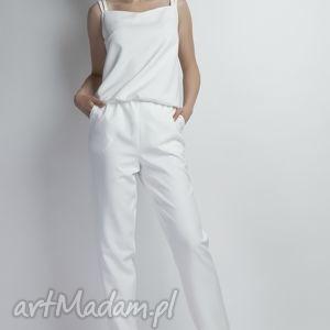 spodnie kombinezon, kb103 ecru, szelki, plecy, ramiączka, biały, przewiewny