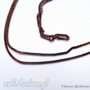 Łańcuszek ogniwkowy brązowy - 45 cm, biżuteria, srebro, łańcuszki