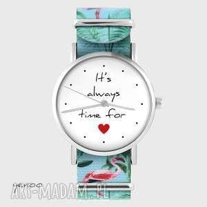 zegarek - it is always time for love flamingi, nato, zegarek, bransoletka