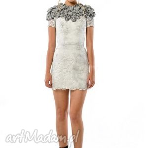 ręcznie robione sukienki tworzysława mini - koronkowa suknia ślubna