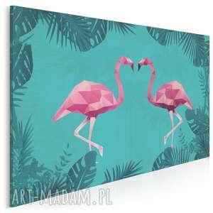 Obraz na płótnie - flamingi geometryczny 120x80 cm 36901 vaku