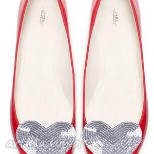 Silver heart - klipsy do butów ozdoby broshka serca, cekiny