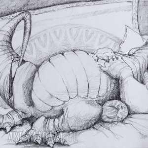 po obiadku u babci rysunek ołówkiem artystki plastyka adriany laube, rysunek, ołówek