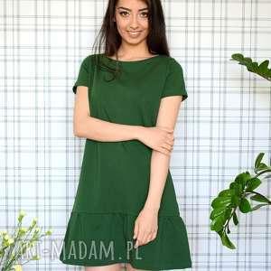 handmade sukienki sukienka z falbaną s/m/l/xl malachitowa