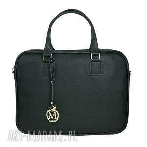 MANZANA biznes styl- torba na laptopa- czarna połyskująca, torba, torebka, laptop