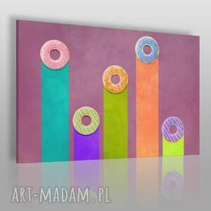 obraz na płótnie - donuts kolorowy 120x80 cm 51101, obraz, pączki, donuts, lukier