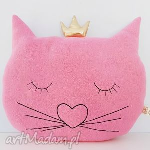 poduszka kocia główka polarkowa z koroną - ,kot,kotek,meow,polar,różowa,korona,