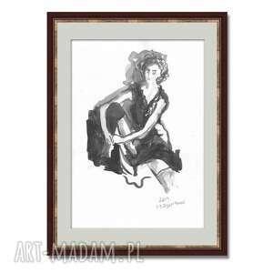 grafika z kobietą czarno biała, malowana ręcznie tuszem, a3, elegancki glamour