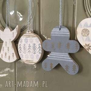 dekoracje zestaw 6 ozdób świątecznych ze sklejki, linoryt seria las 2, święta