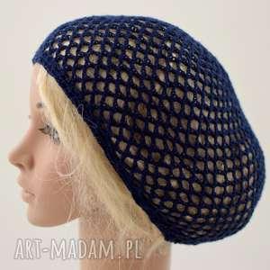 ręcznie wykonane czapki czapka letnia - granatowa siatka na włosy