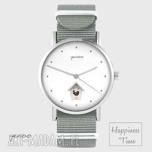 zegarek - domek dla ptaków szary, nato, zegarek, bransoletka