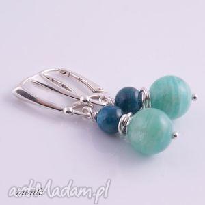 błękitna laguna kolczyki - biżuteria, niebieskie, srebro
