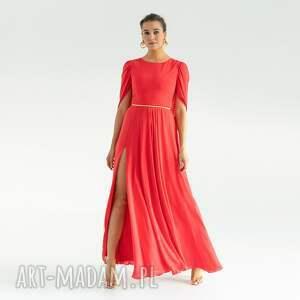 oryginalny prezent, pawel kuzik sukienka 11/ss/2021, koralowa, gładka, weselna