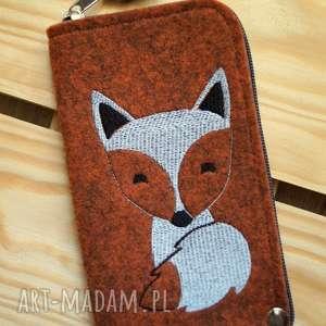 filcowe etui na telefon - lisek, smartfon, pokrowiec, futerał, koraliki, fox