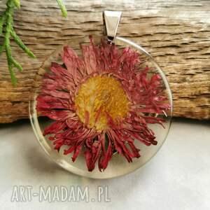 naszyjniki przeźroczysty wisior z kwiatkiem z1075, kwiatowa biżuteria