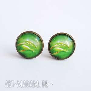 handmade klipsy - energia natury antyczny brąz, zielone