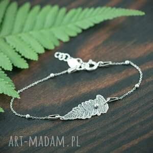 srebrna bransoletka liść paproci, bransoletka, srebrny