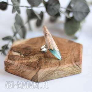 Lago - pierścionek z drewna i żywicy sirius92 z-żywicy