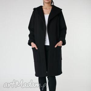 płaszcz z ciepłym kołnierzem czarny s-m 36/38, płaszcz, czarny, długi, ciepły