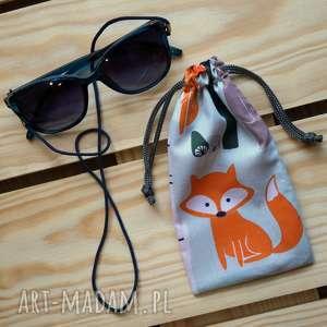 etui / bawełniany woreczek na okulary, lisek, leśne zwierzęta, kropeczki