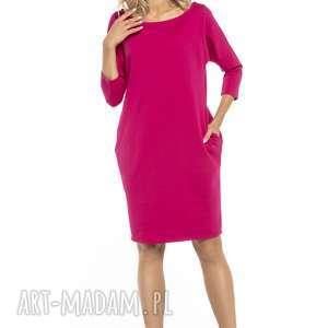 sukienki luźna sukienka z kieszeniami, t247, fuksja