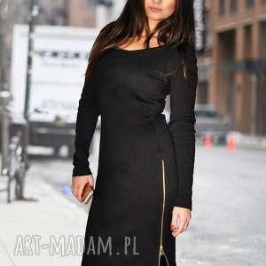 sukienki bien fashion czarna sukienka z długimi rozporkami s, casual, zamki, midi