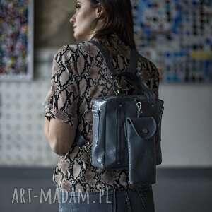 handmade plecak/torebka 2w1 grey crocoglam z saszetką